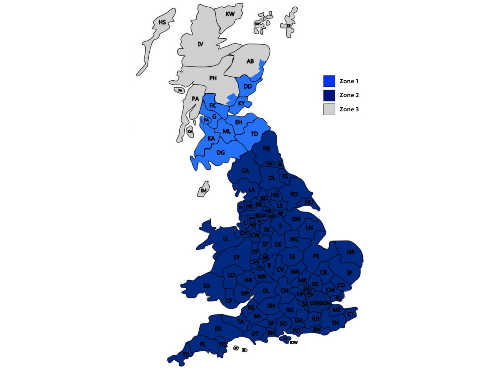Map of our UK Delivery Zones