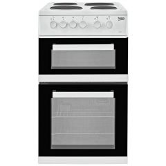 Beko KD533AW White 50Cm Twin Cavity Cooker (Solid Plate/Fan Oven)