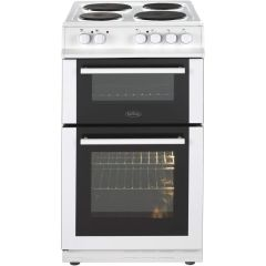 Belling FS50EFDOWH White 50Cm Solid Plate Double Oven Cooker
