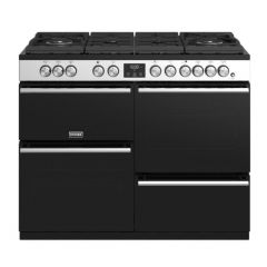 Stoves PRECISION_444410754 S/Steel 110Cm Dual Fuel Range Cooker With Gas-Through-Glass Hob