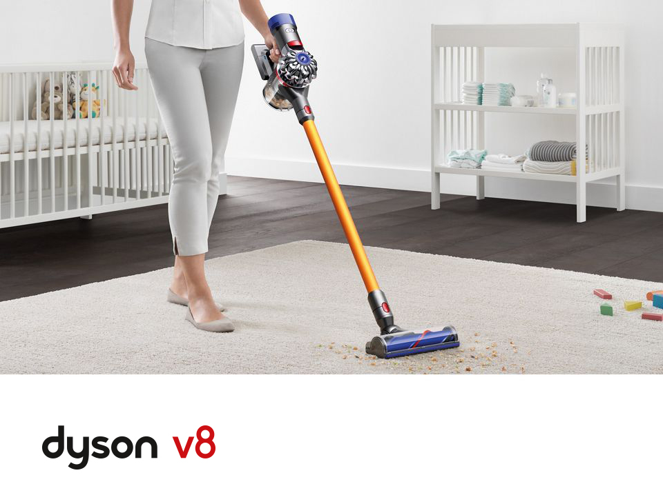 Dyson V8 Cordless Stick Vacuum in action